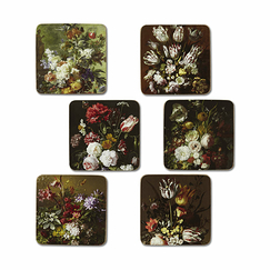 Set of 6 Coasters Flower Still Lifes - Rijsk Museum