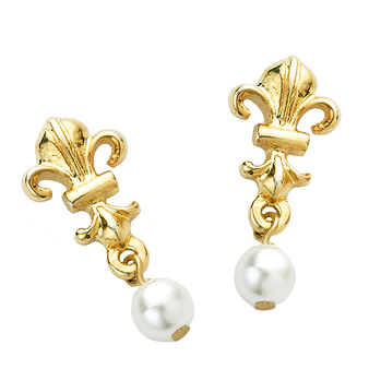 Fleur-de-lis and Bead Earrings