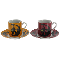 "Set of two coffee cups ""Chat Noir"" (Black cat)"
