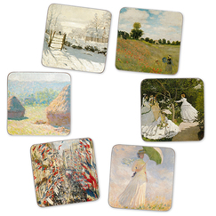 6 cork coasters Monet