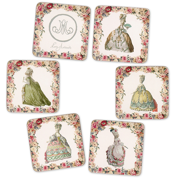 6 cork coasters Engravings of fashion at the time of Marie-Antoinette