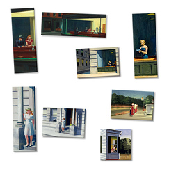 Lot de 8 magnets Edward Hopper