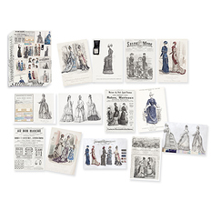 "Boxset of 12 greeting cards with envelopes 14 x 20 cm ""Engravings of Fashion - 19th Century"""