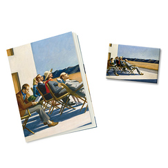 "Lot Cahier et Magnet Hopper ""People in the sun"""