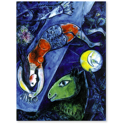 Poster Blue Circus by Marc Chagall