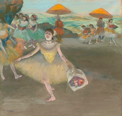 Dancer with bouquet, curtseying