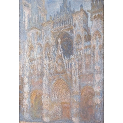Rouen Cathedral, the gate, morning sun, Blue harmony