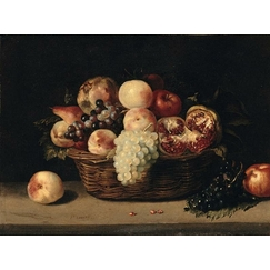 Basket of pomegranates, peaches and grapes