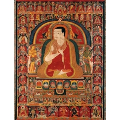 Portrait of Onpo Lama Rinpoche (1251-1296) and the Arhats