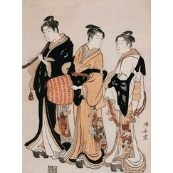 Three Young Women Masquerading as Komuso (Strolling Minstrel)