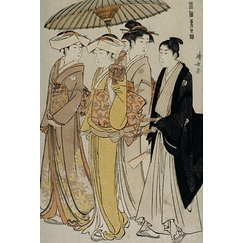 Samurai girls accompanied by a young man