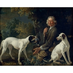 Portrait of the gamekeeper La Forêt and Fine-Lise and Lise, two dogs from the royal pack oudry