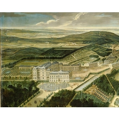 Perspective view of Royal castle and gardens of Saint Cloud near Paris in 1700