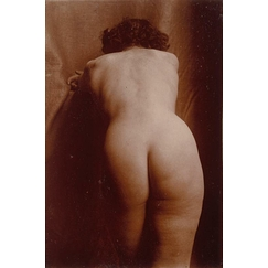 Naked woman standing up from behind, leaning, knee-high view