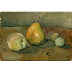 Still life, pear and green apples