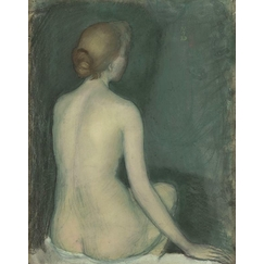 Naked woman, view from behind, facing right
