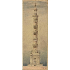 Monumental lighthouse project for Paris, elevation