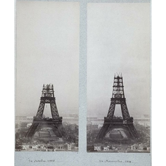 The construction of the Eiffel Tower seen from one of the towers of the Trocadero Palace