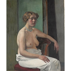 Woman sitting half-naked