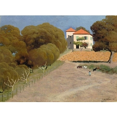 Landscape, the house with the red roof