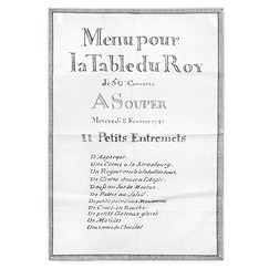 "Tea towel ""11 Petits entremets Menu du Roy"""