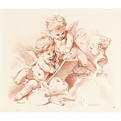 "Two ""Amours"" with the attributes of painting and sculpture - Péquégnot after François Boucher"