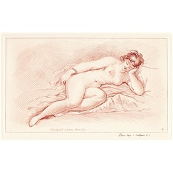 Naked woman lying on her side, leaning her face on her hand