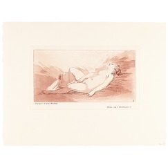 Naked woman lying on her back next to a vase pouring water