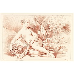 Naked girl between a basket of flowers and two doves pecking at each other