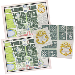 "Set of 2 Placemat and paper table napkins ""Le Nôtre"""
