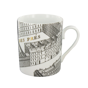 turgot map of paris mug porcelain gold boutiques de mus es. Black Bedroom Furniture Sets. Home Design Ideas