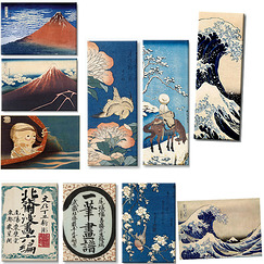 "Lot de 10 magnets ""Hokusai"""