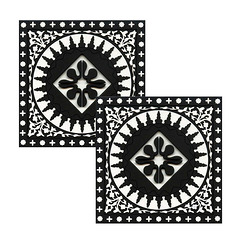 2 coasters Black and white mosaic