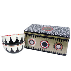 Box of 2 porcelain bowl Mosaic Black & white