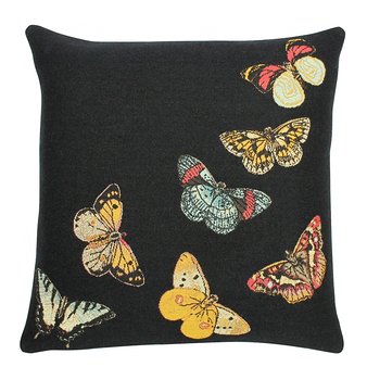Cushion cover Butterflies black