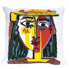 "Housse de coussin Picasso ""Head of a woman with hat, 1962"""