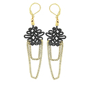 Earrings black lace and gold thread