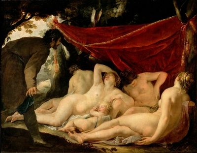 Venus and the Graces surprised by a mortal