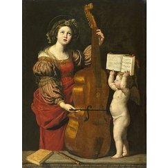 Sainte Cécile with an angel holding a musical score