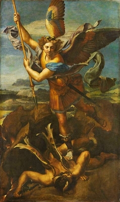 Saint Michael knocking down the demon called The Great Saint Michael