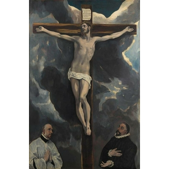 Christ on the Cross worshipped by two donors - Paper without frame XS