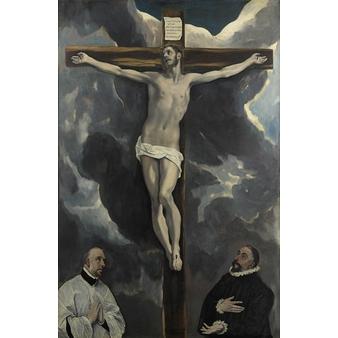 Le Christ en croix adoré par deux donateurs - Papier sans cadre XS