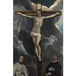 Christ on the Cross worshipped by two donors