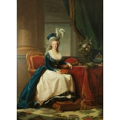 Queen Marie-Antoinette sitting, in a blue coat and white dress, holding a book in her hand