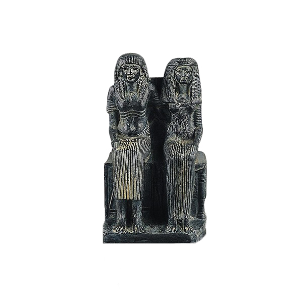 Statue of an Egyptian couple sitting